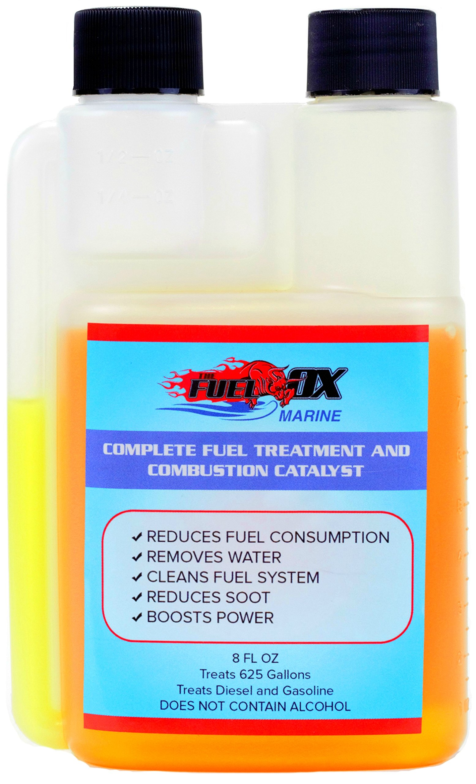 Fuel Ox Marine - Complete Fuel Treatment and Combustion Catalyst - Fuel Additive for Gas or Diesel - For Inboard or Outboard Motors - Treats Fuel For Boats or Jet Skis - 8oz Bottle