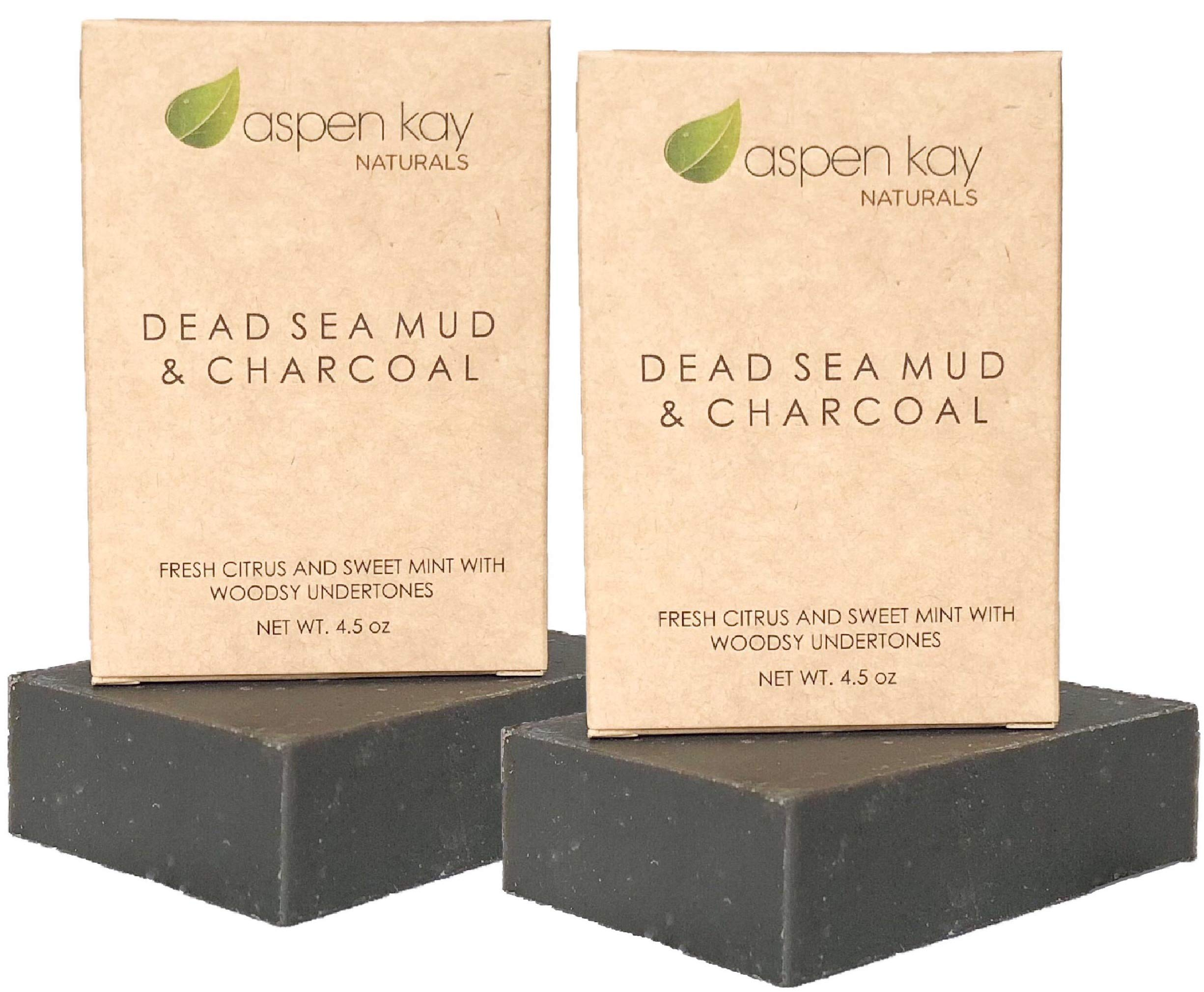 Dead Sea Mud Soap Bar With Activated Charcoal (2 Bar Pack) 100% Natural & Organic. With Therapeutic Grade Essential Oils. Face Soap or Body Soap. Chemical Free. Each Bar is 4.5 oz by Aspen Kay Naturals