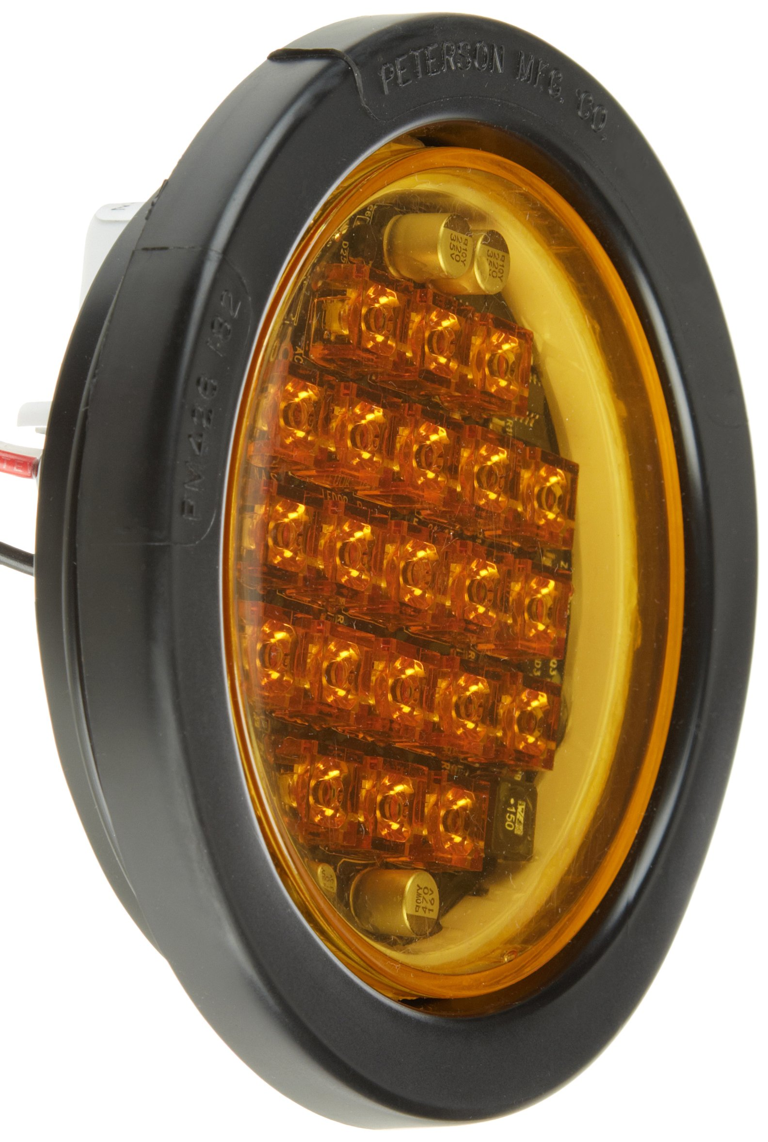 North American Signal LEDQR-A LED Round Warning Light with Grommet Mount, 12/24V, 0.33A Current, Amber