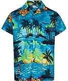 MENS HAWAIIAN SHIRT SHORT SLEEVE STAG BEACH HOLIDAY ALOHA SUMMER FANCY DRESS HAWAII - ALL SIZES