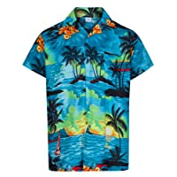 MENS HAWAIIAN SHIRT SHORT SLEEVE STAG BEACH HOLIDAY ALOHA SUMMER FANCY DRESS HAWAII - ALL SIZES