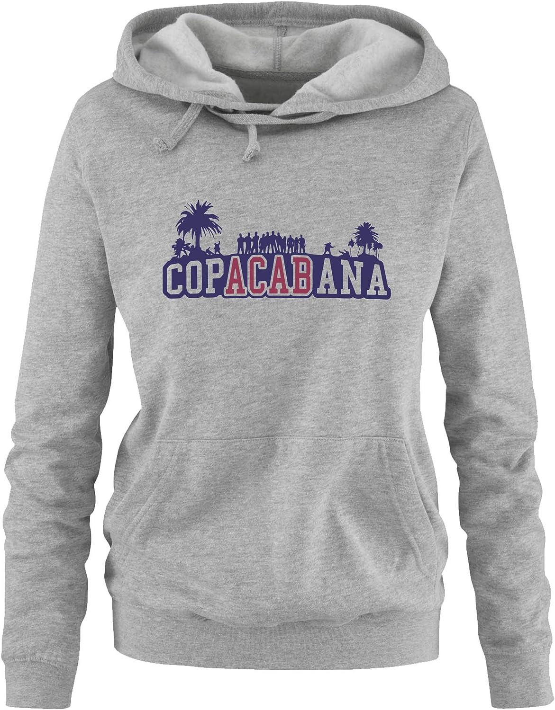 Comedy Shirts Print-Pulli Copacabana Palmen Damen Hoodie Kapuze Langarm K/ängurutasche