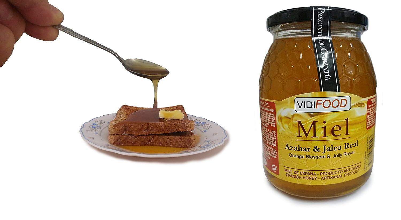 Miel de Azahar con Jalea Real - 1kg - Producida en España - Estimulante y altamente nutritiva - Alta Calidad - Aroma Floral Intenso y Sabor Fuerte y Dulce: ...