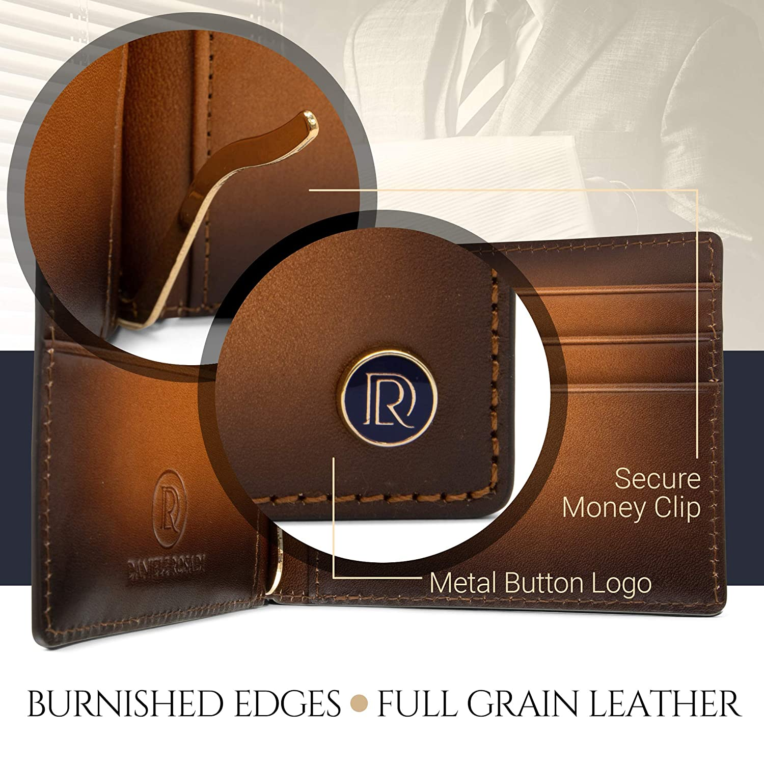Stylish Mens Bifold Wallet with Money Clip Slim Front Pocket Wallet for Men with Card and Cash Holder Classic Style Bifolds Brown Cognac Sleek Full Grain Leather