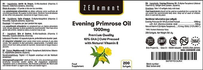 Aceite de Onagra | 1000mg x 200 Perlas | Calidad Premium, Prensado en frío, 10% GLA | Para el equilibrio hormonal de las mujeres y la saludo de la piel y los