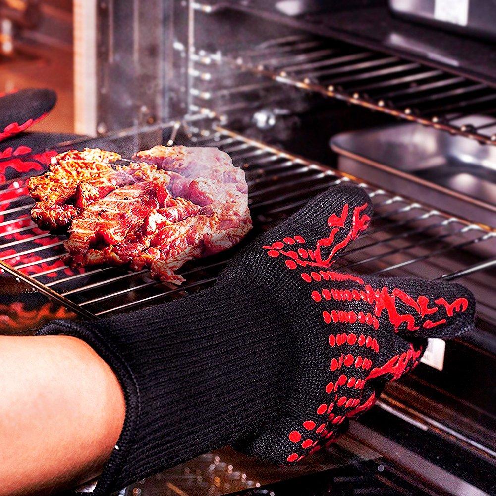 camino e carbonella Surenhap 1 Paio Guanti da Forno BBQ Guanti da Cucina con Resistenza al Calore Fino a 500 /°C per cucina barbecue