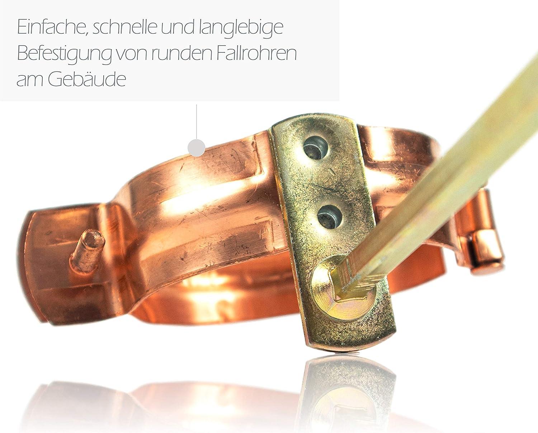 Rohrschelle f/ür Kupfer Regenrohre DN 60 Regenrohrschelle zur Befestigung von Fallrohren am Geb/äude Fallrohrschelle Kupfer 60 mm mit 140 mm Schlagstift
