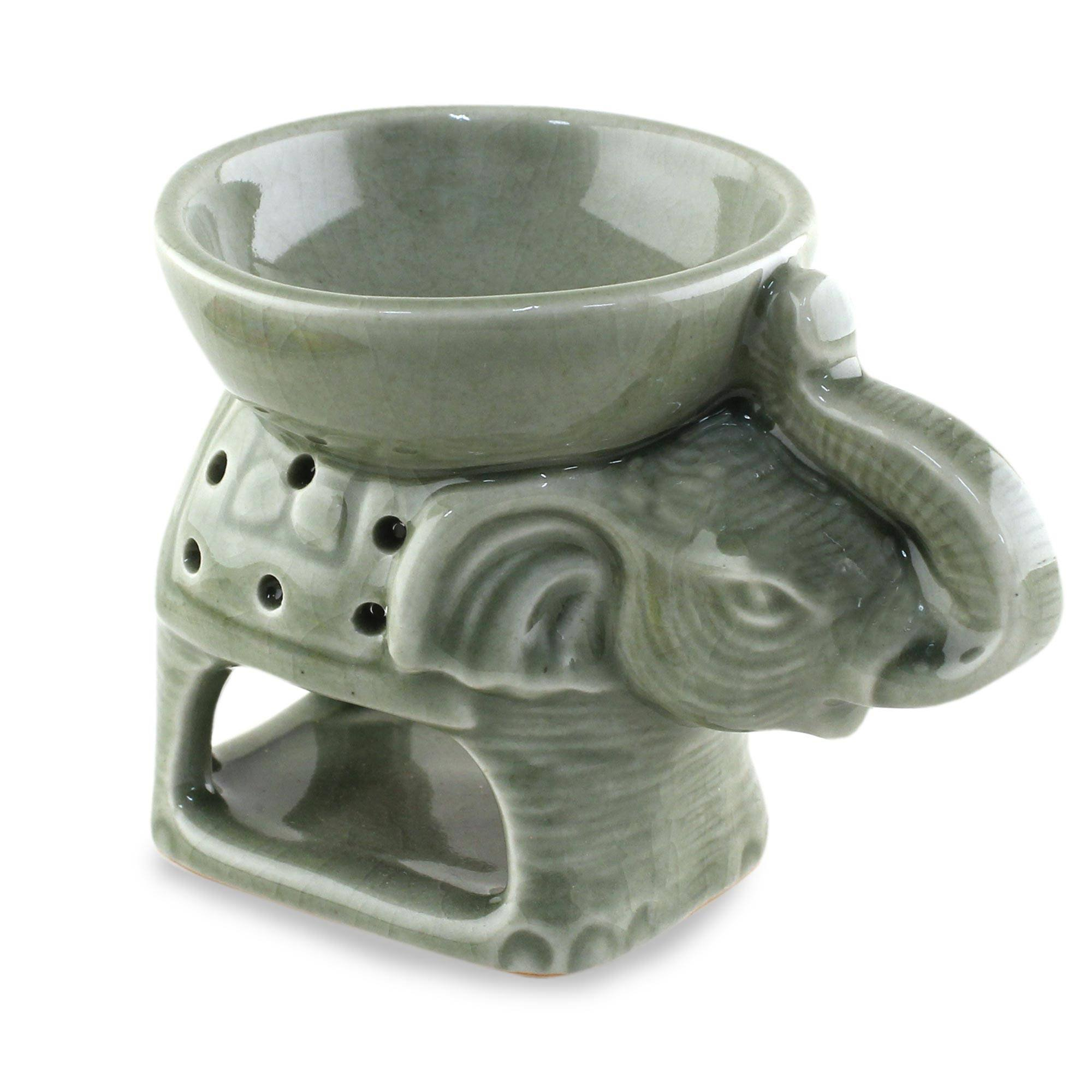 NOVICA Decorative Ceramic Animal Themed Incense Holder, Green 'Welcome Elephant'