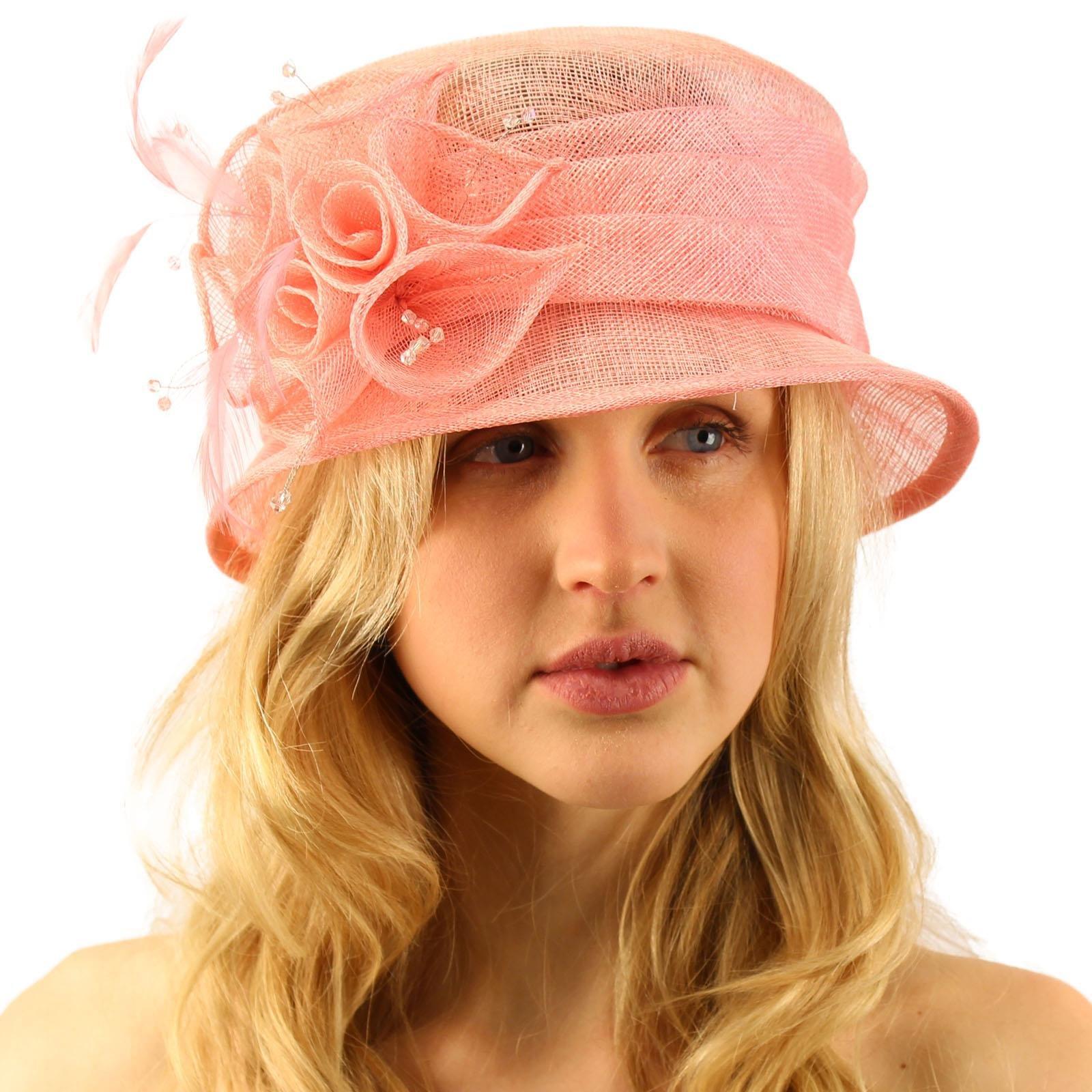Summer Fancy 1920s Flapper Sinamay Trio Floral Cloche Bucket Church Hat Pink