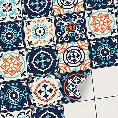 Carrelage adhesif Cuisine et Salle de Bain - Mosaique Stickers carrelage  Mural I Adhésive décorative à Carreaux de Ciment I Stickers carrelage ...