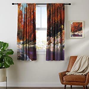 Blackout Curtains for Living Room- Curtains for Kitchen River-with-Rocks-Autumn-Forest-Peaceful-Artistic-Paint-of-Scenic-Woods-Artwork Ginger-Purple Bedroom with Dark Curtain W72 x L62