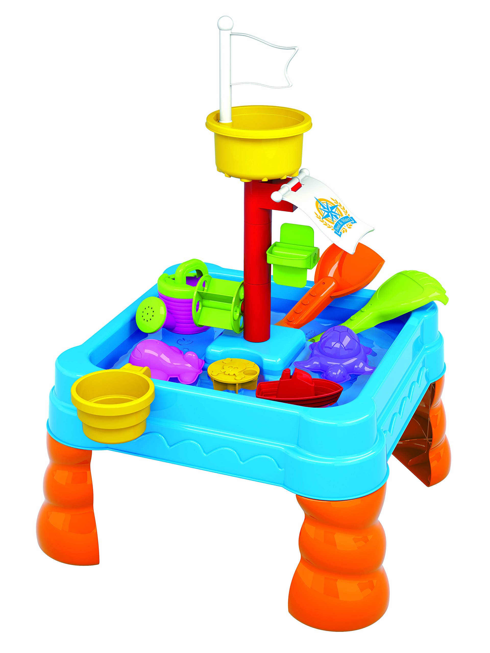 Kids Sand and Water Table - Toddler Bubble Splash Water Table - Splash and Scoop Kids Table - Detachable Legs - Beach Tools and Water Cans by Lenoxx