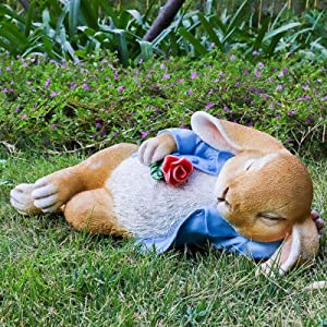 Outdoor Garden Decor Rabbit Resin Ornaments, Garden Simulation Rabbit Ornaments and Statues Art, Backyard Lawn Eco-Friendly Resin Animal Crafts, Creativity Courtyard Landscape Sculpture,Blue