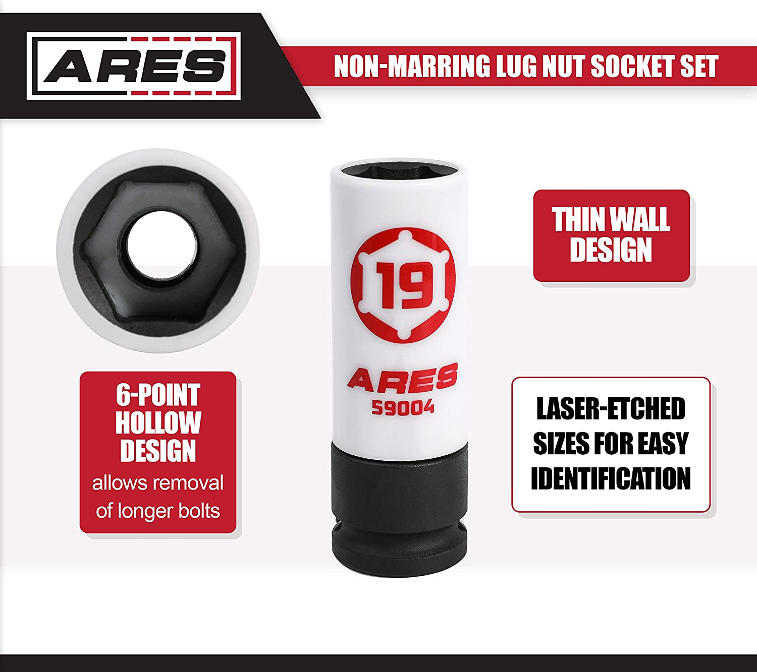 ARES 59000-5-Piece 1//2-Inch Drive Non-Marring Lug Nut Socket Set Protective Sleeves and Inserts Prevent Damage to Wheels and Lugs Storage Rail Included