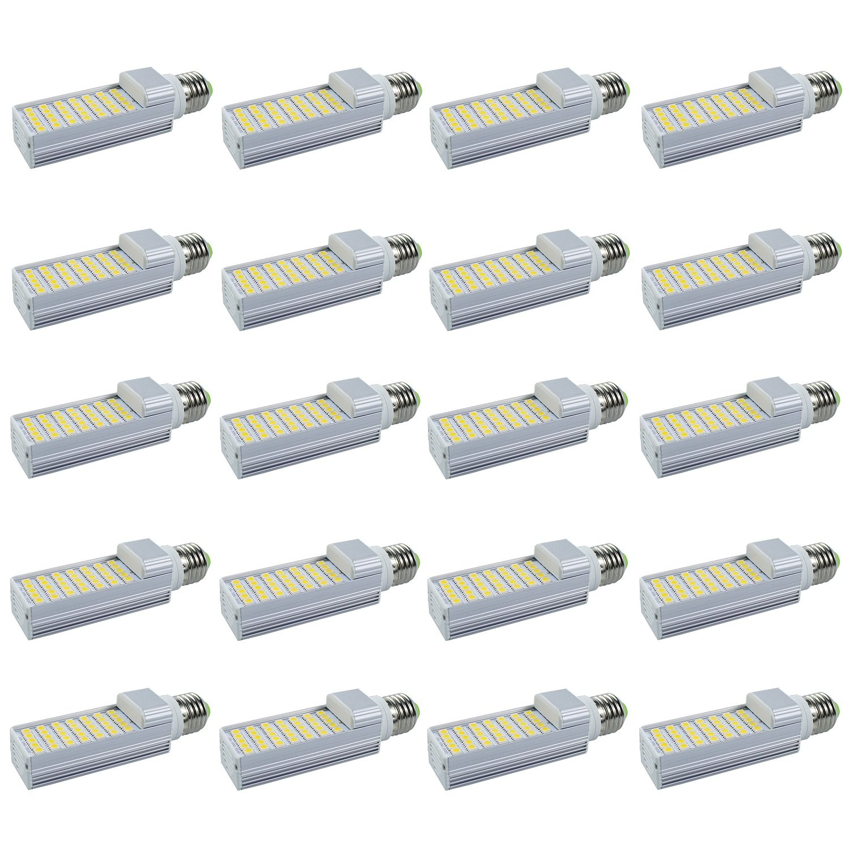 Masonanic LED 5W G24 E26 Base Compact Fluorescent Lamp Rotatable Aluminum Lamp E26 LED CFL/Compact Fluorescent Lamp,15W CFL Equivalent (4000K Natural Daylight White, 20 Pack)