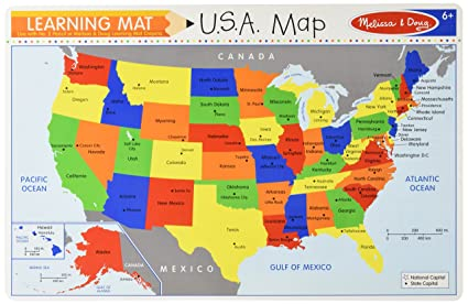 Use States Map.Amazon Com Melissa Doug The United States Write A Mat Placemat