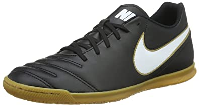 Nike Men's Tiempo Rio III IC Black/White/Metallic Gold Indoor Soccer Shoe  7.5