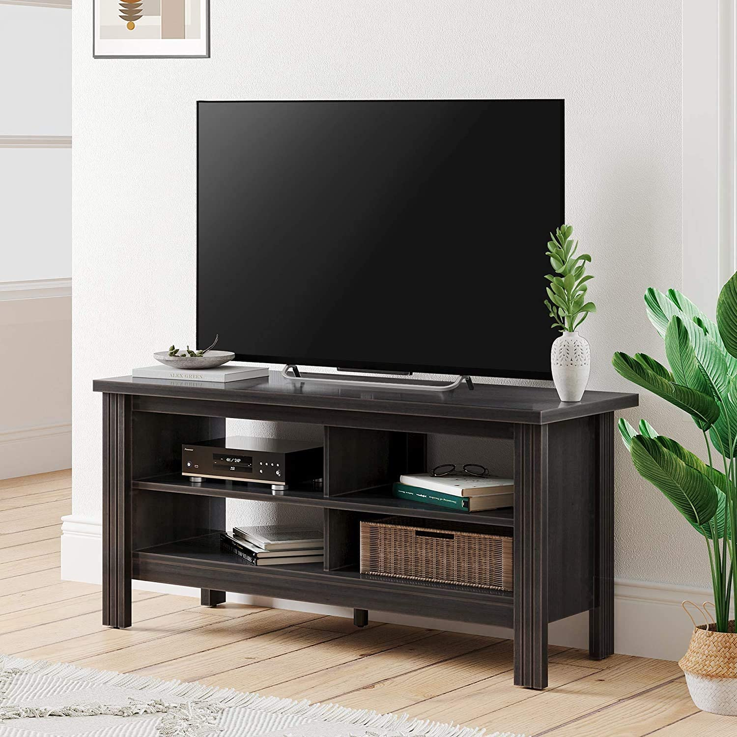 Wampat Farmhouse Tv Stands For 55 Inch Tv Media Storage Shelves Entertainment Center For Living Room And Bedroom Black 43inch Home Audio Theater
