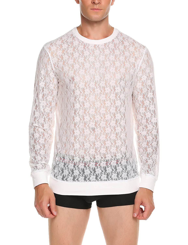 7964dfcb22a Amazon.com  JINIDU Mens See Through Mesh T-Shirts Long Sleeve Sexy Fashion  Tees Tops  Clothing