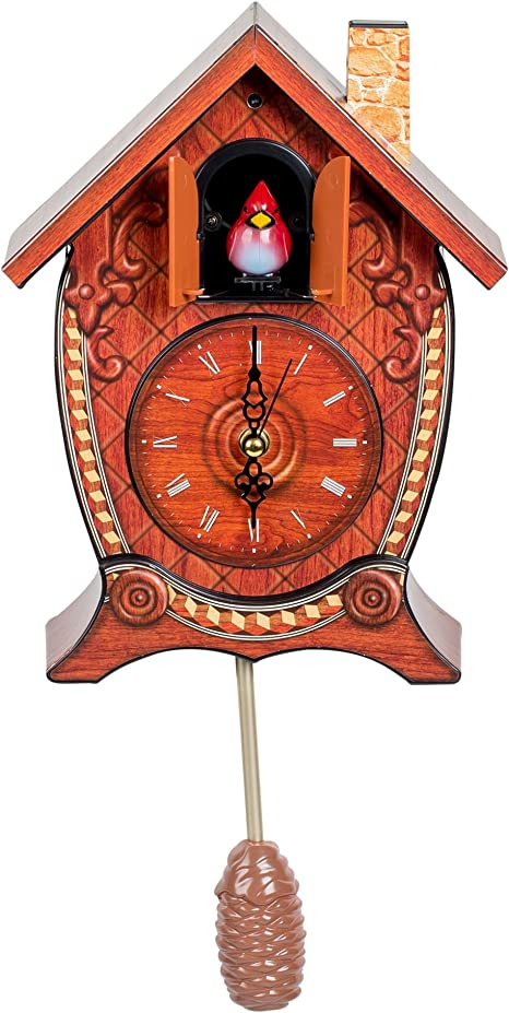 Amazon Com Mark Feldstein Associates Traditional Chalet Style Singing Cardinal Tabletop Wall Sound Cuckoo Clock Home Kitchen