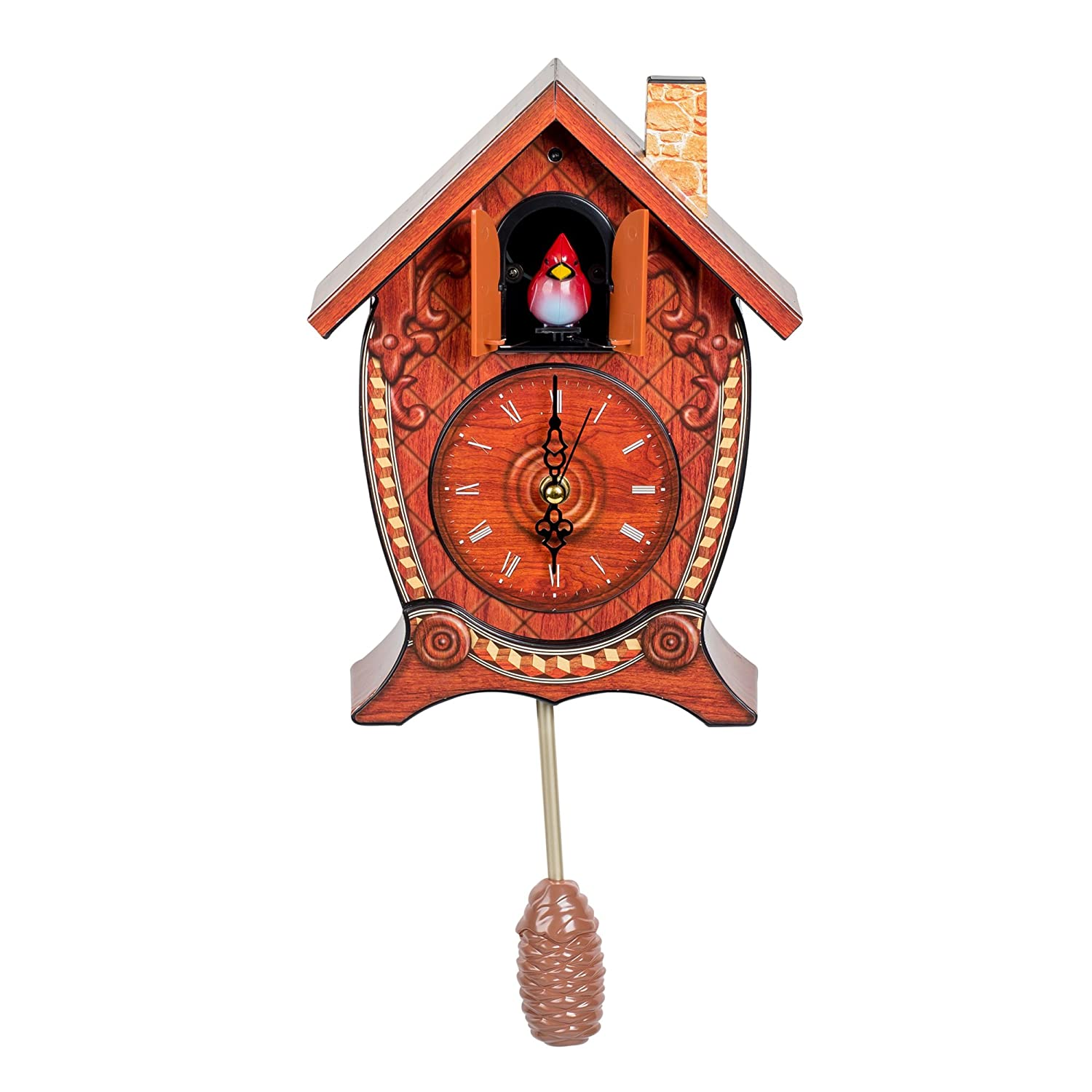 Traditional Chalet Style Cardinal Tabletop Hanging Cuckoo Clock