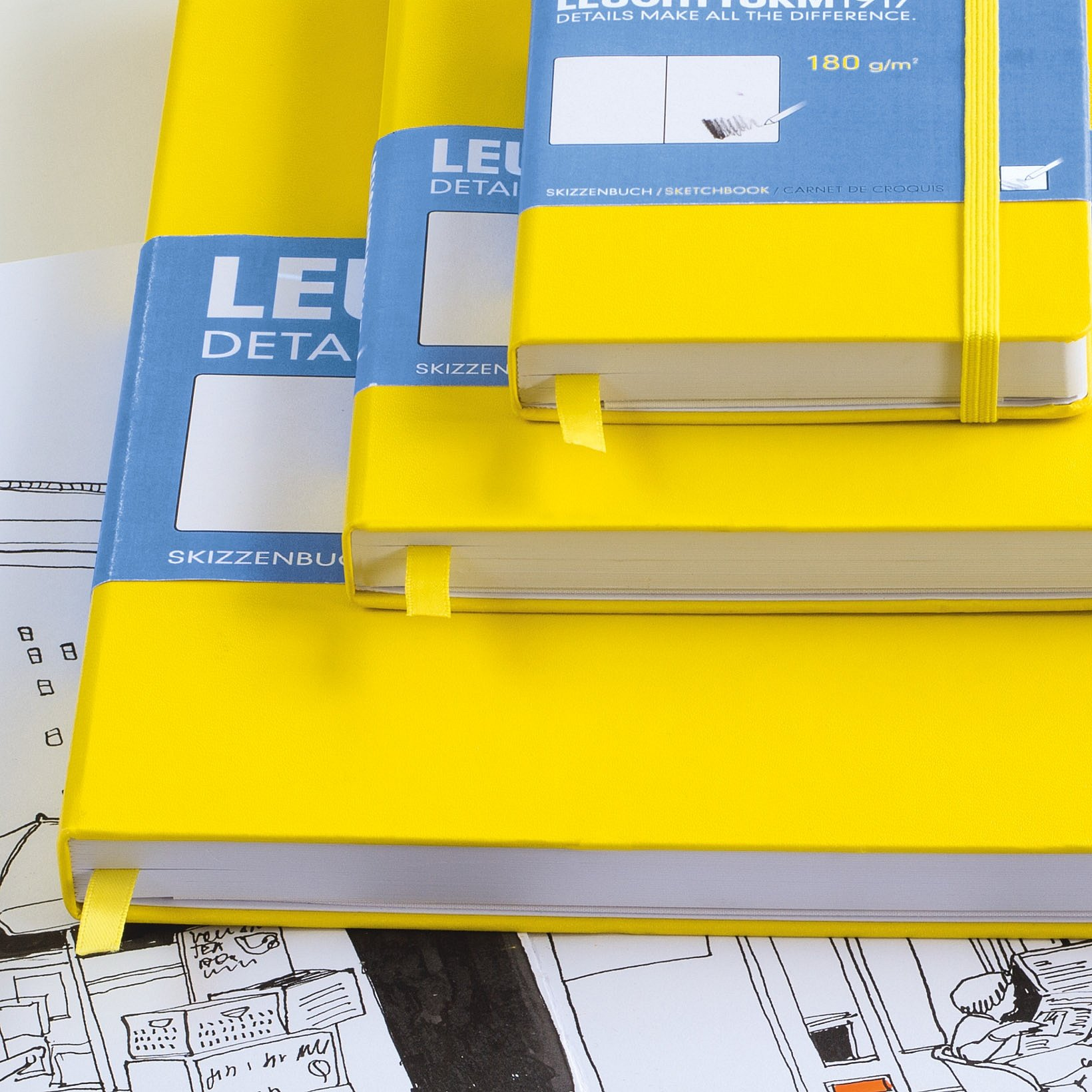 Leuchtturm1917 A4+ Master Hardcover Sketchbook, 8.85 X 12.5 inches, 96 Pages of 180g Brilliant White Plain Paper, Orange (345004) by LEUCHTTURM1917 (Image #5)