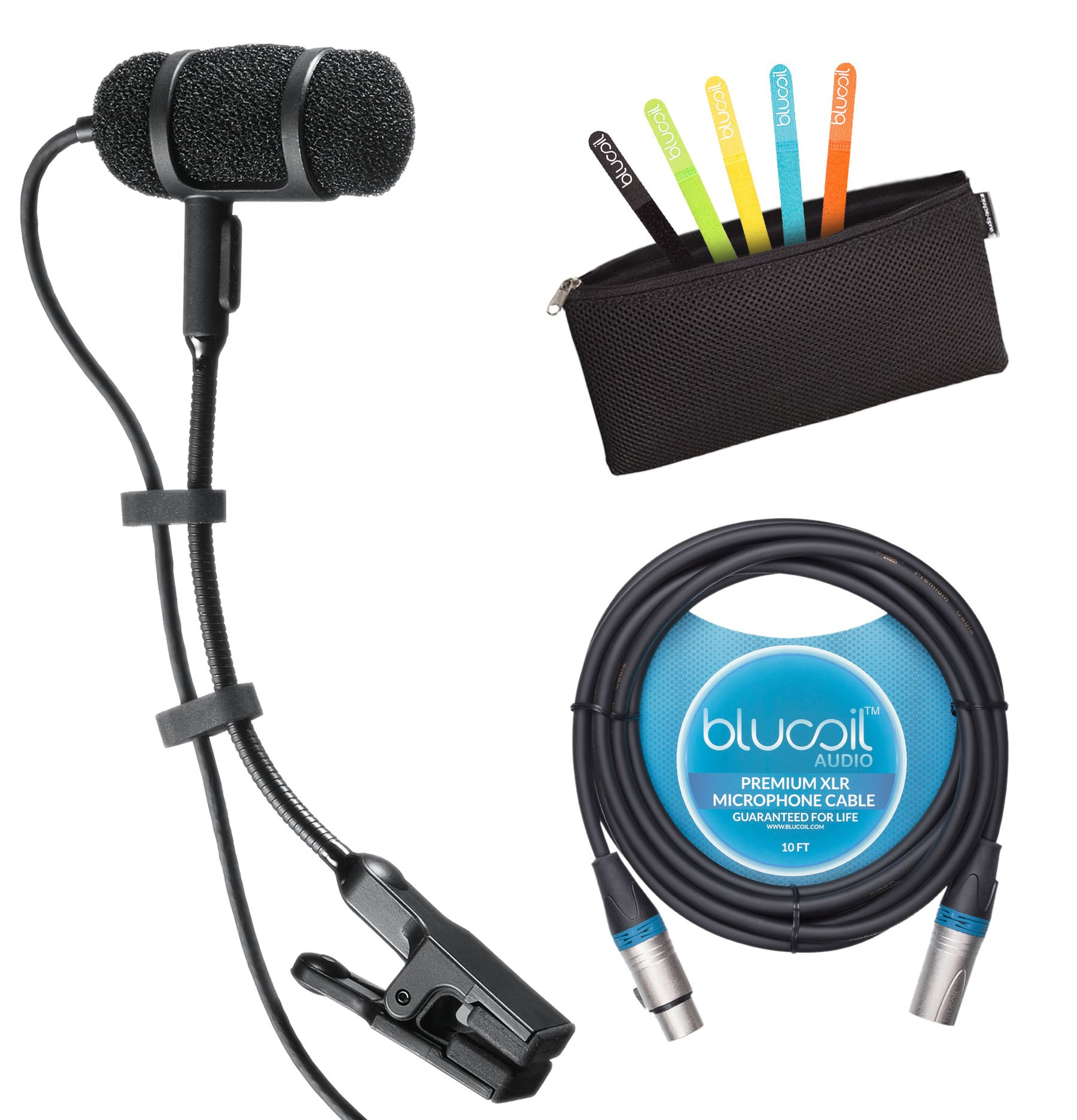 Audio-Technica PRO 35 Cardioid Condenser Clip-on Instrument Microphone Bundle - INCLUDES Protective Pouch, Blucoil 10ft XLR Cable PLUS 5 Pack Blucoil Cable Ties