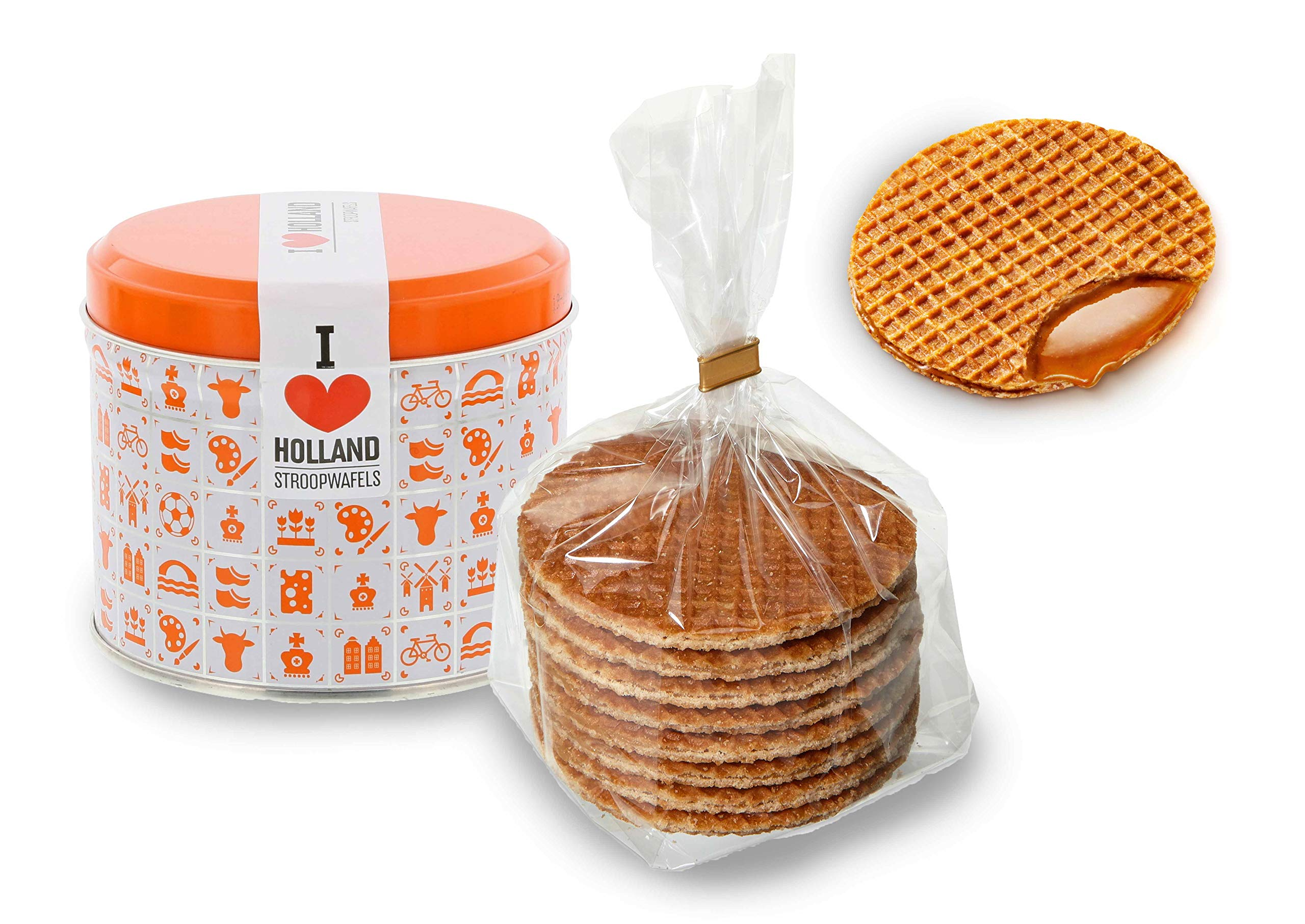 Daelmans Stroopwafel Tin | Caramel Stroopwaffles - 230 g per tin - Blue or Orange | Warm it up on Your Cup - Great Small Gift for Friends, Family & Colleagues (Orange, 1 Tin)