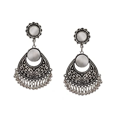 b0ccee1cf Image Unavailable. Image not available for. Color: Zephyrr Afghani Mirror  Work Drop Earrings German Silver For Women ...