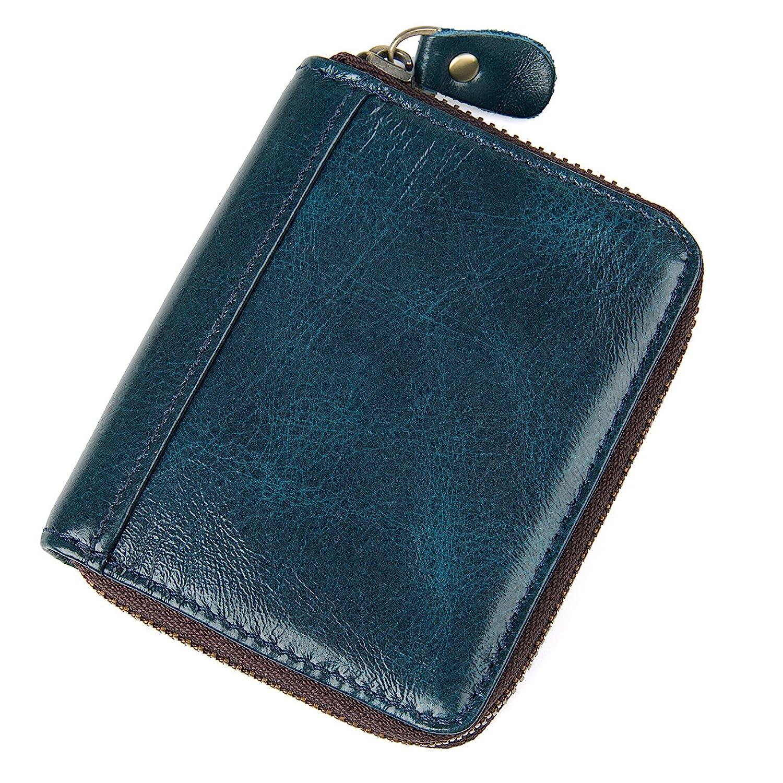 シンソフトレザーアコーディオンスタイル本革カードケース財布with Zipper 8117 B078J11TRQブルー