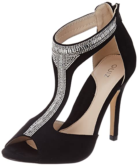 Quiz Embellished tBar Sandali con Cinturino alla Caviglia Donna Nero