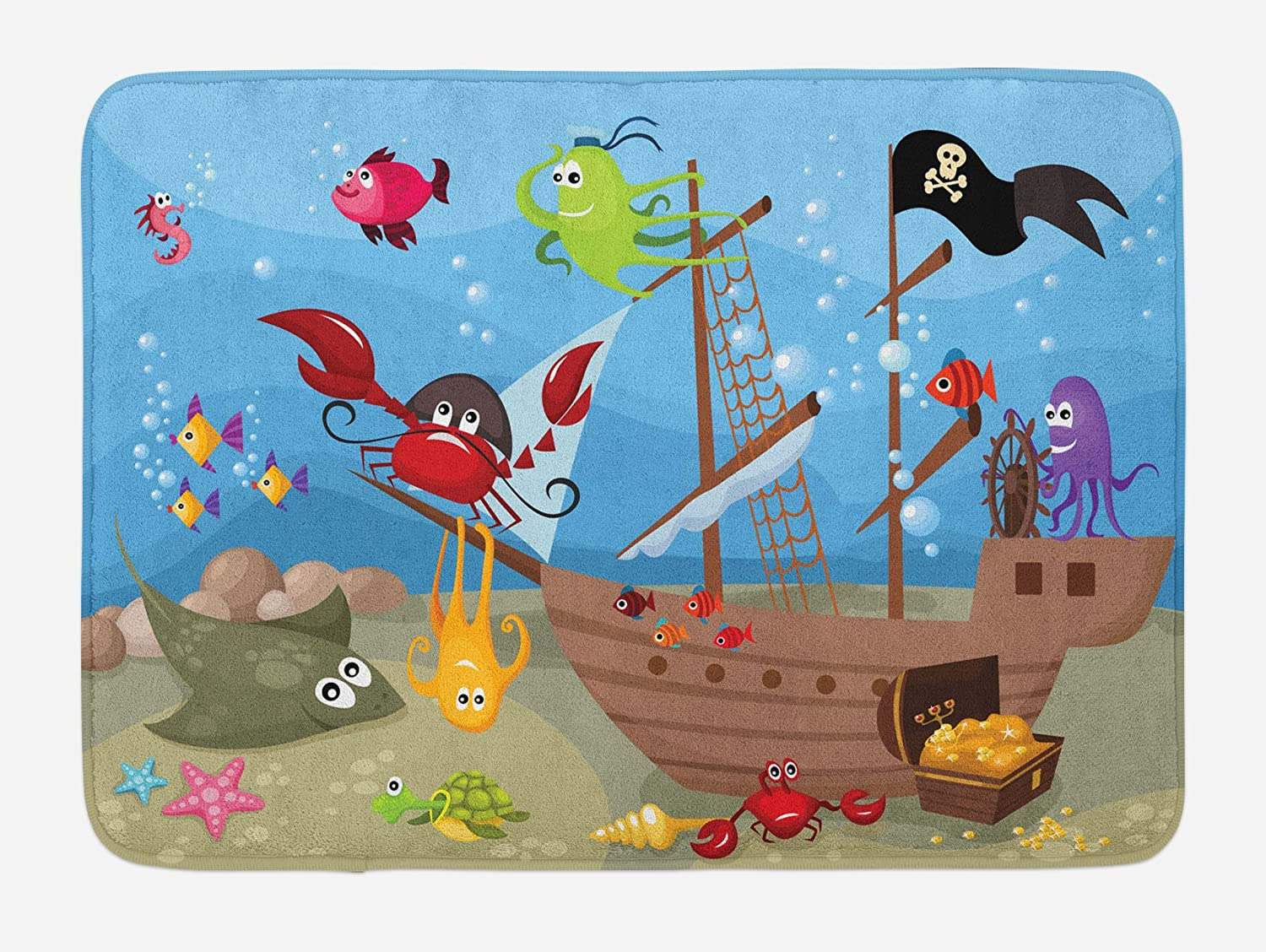 "Ambesonne Pirate Bath Mat, Cartoon Ship Under The Sea Discovered by Sea Animals Treasure Chest Marine Adventure, Plush Bathroom Decor Mat with Non Slip Backing, 29.5"" X 17.5"", Red Yellow"