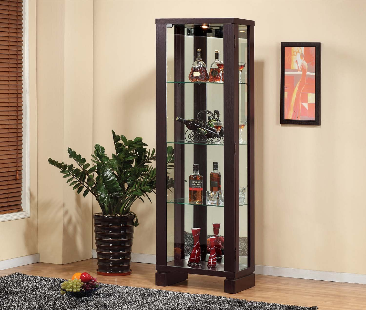 11404 Smart Home Wine Bar Edition Curio Display (Red Cocoa (Espresso))