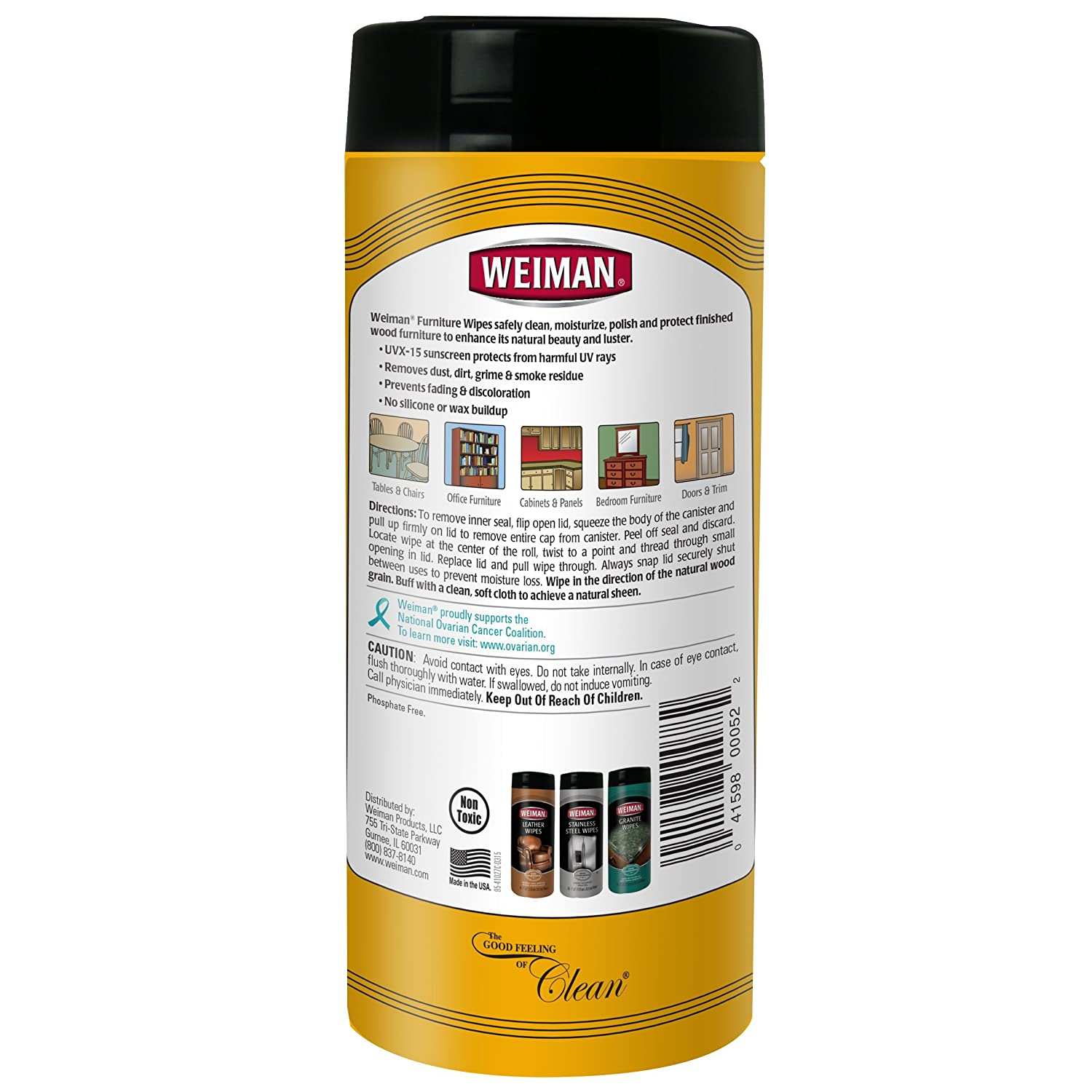 Amazon.com: Weiman Wood Cleaner and Polishing Wipes - For Furniture ...