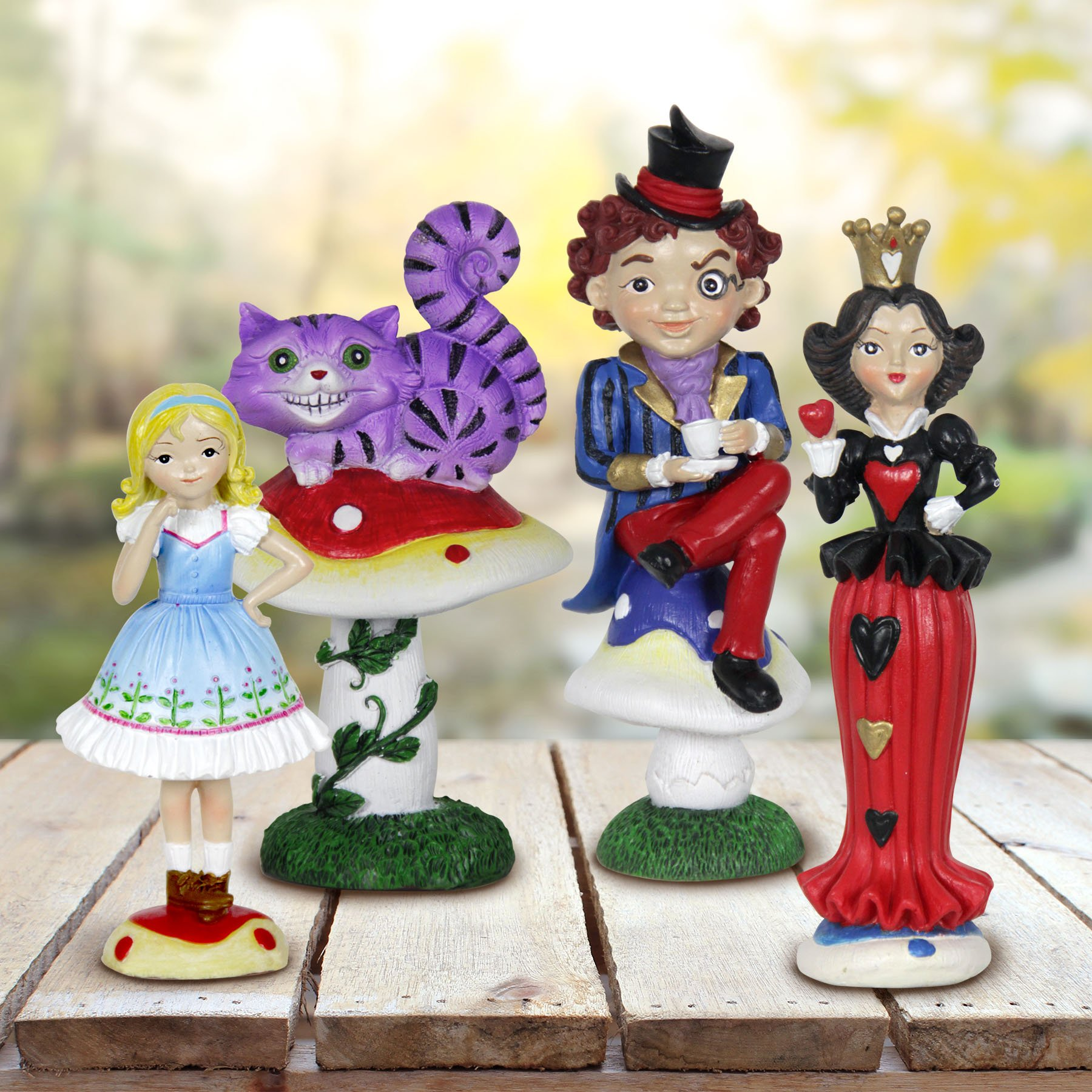 Exhart Alice in Wonderland Mini Figurine Set - Wonderland Mini Statue Garden Set Featuring Alice, Cheshire Cat, Mad Hatter, Queen of Hearts - Decorative Resin Statues for a Fairy Garden
