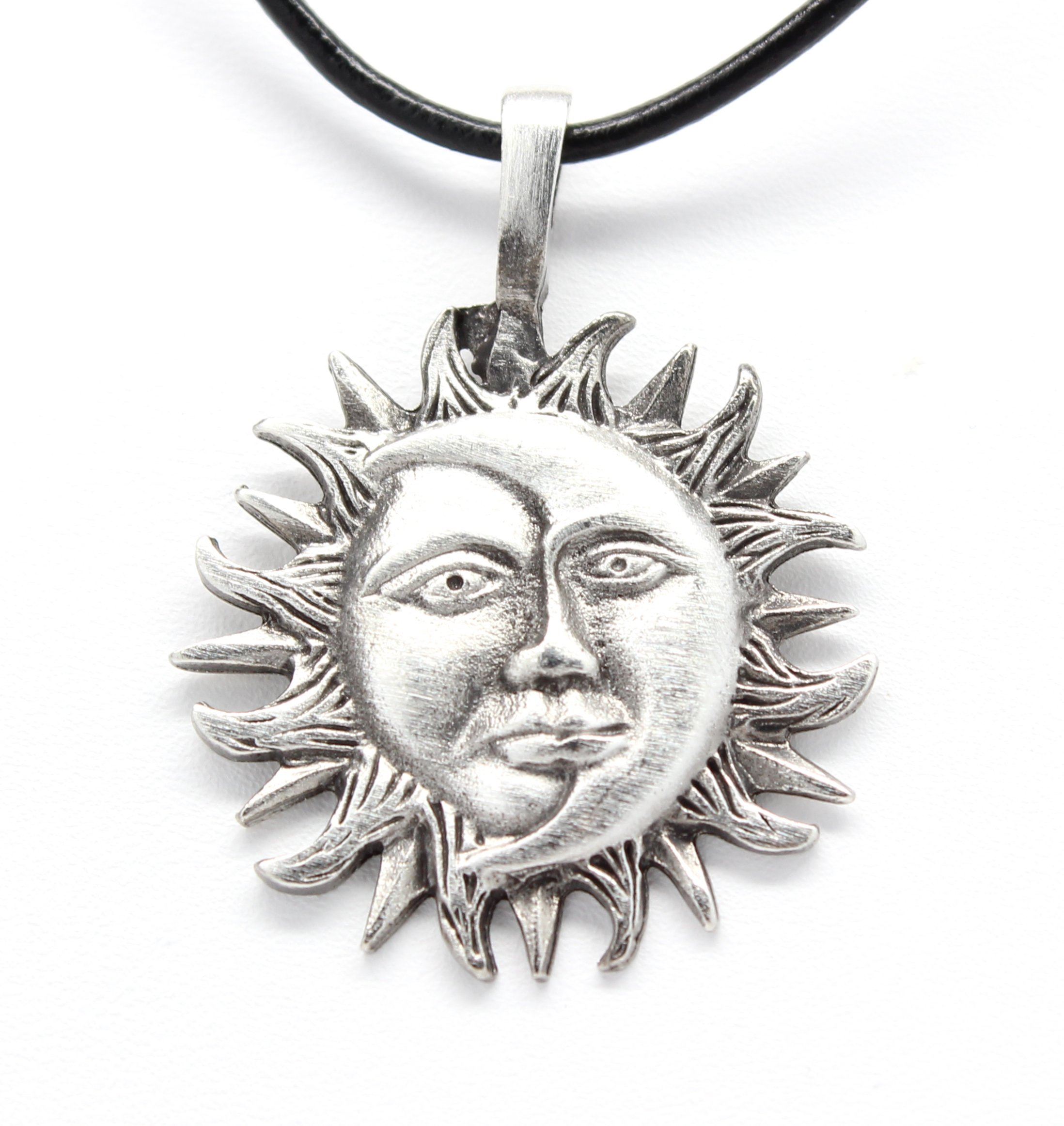 Trilogy Jewelry Pewter Sun Moon Face Celestial Lunar Solar Pendant, Black Necklace Cord with Clasp