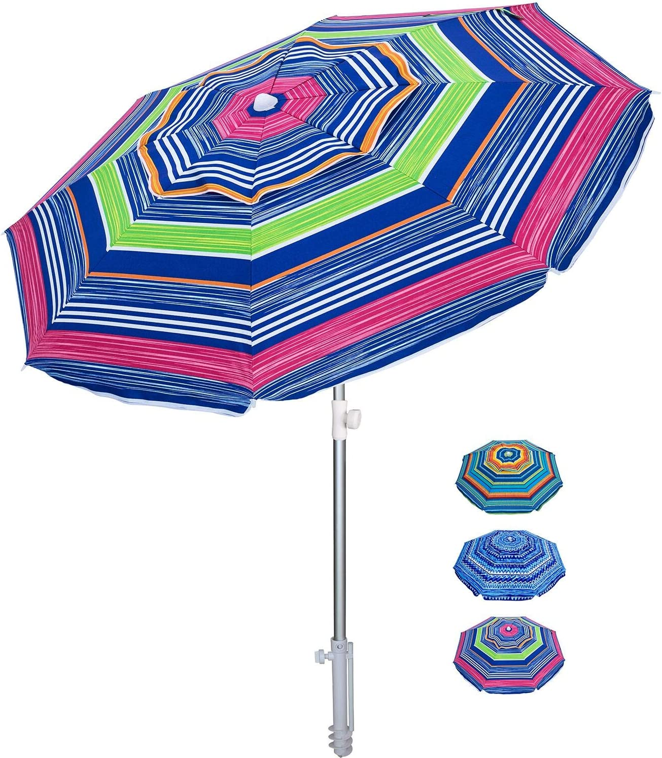 AMMSUN Beach Umbrella 6.5ft Umbrella with Sand Anchor & Tilt Aluminum Pole, UV 50+ Portable Beach Umbrella with Carry Bag for Beach Patio Garden Outdoor (Green Stripe)