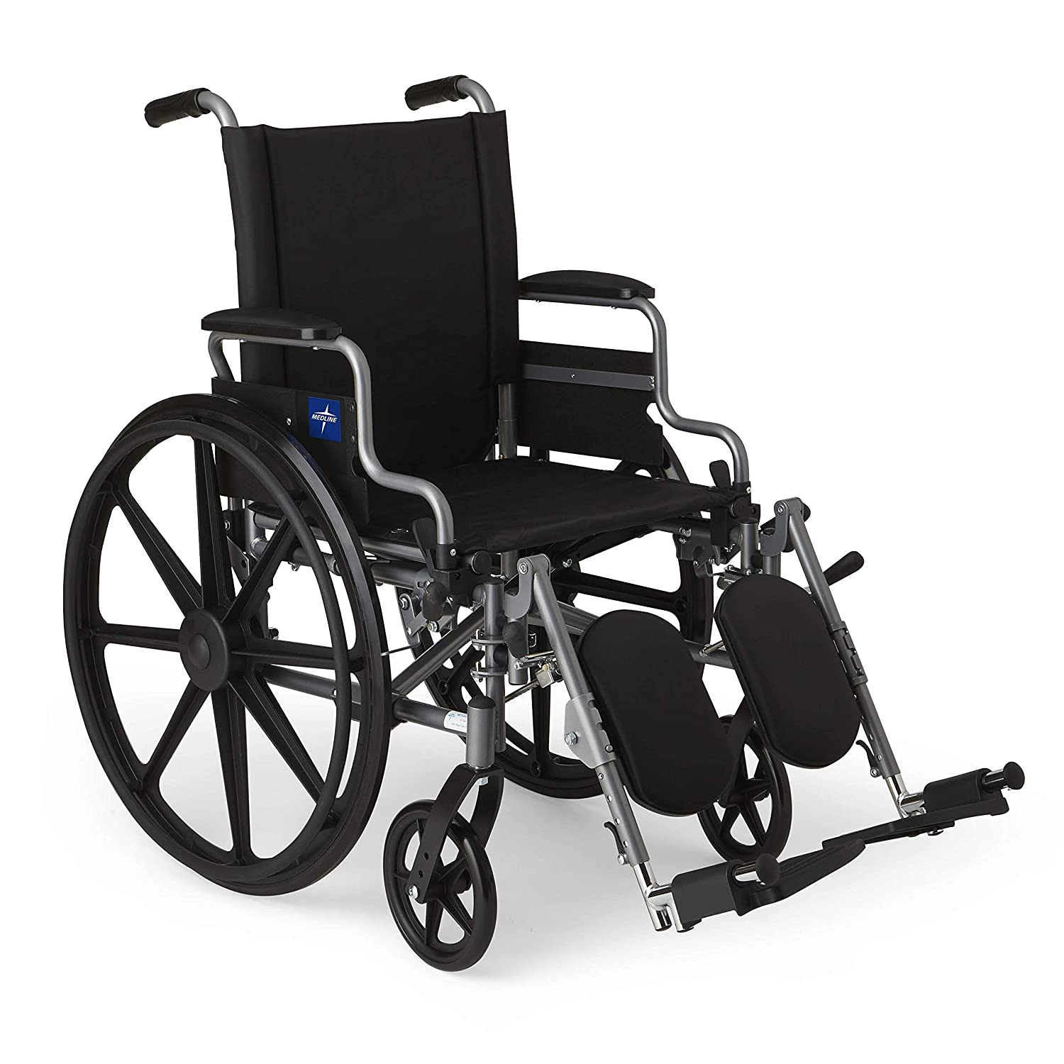 Medline Lightweight and User-Friendly Wheelchair with Flip-Back, Desk-Length Arms and Elevating Leg Rests for Extra Comfort, Gray, 20 inch Seat