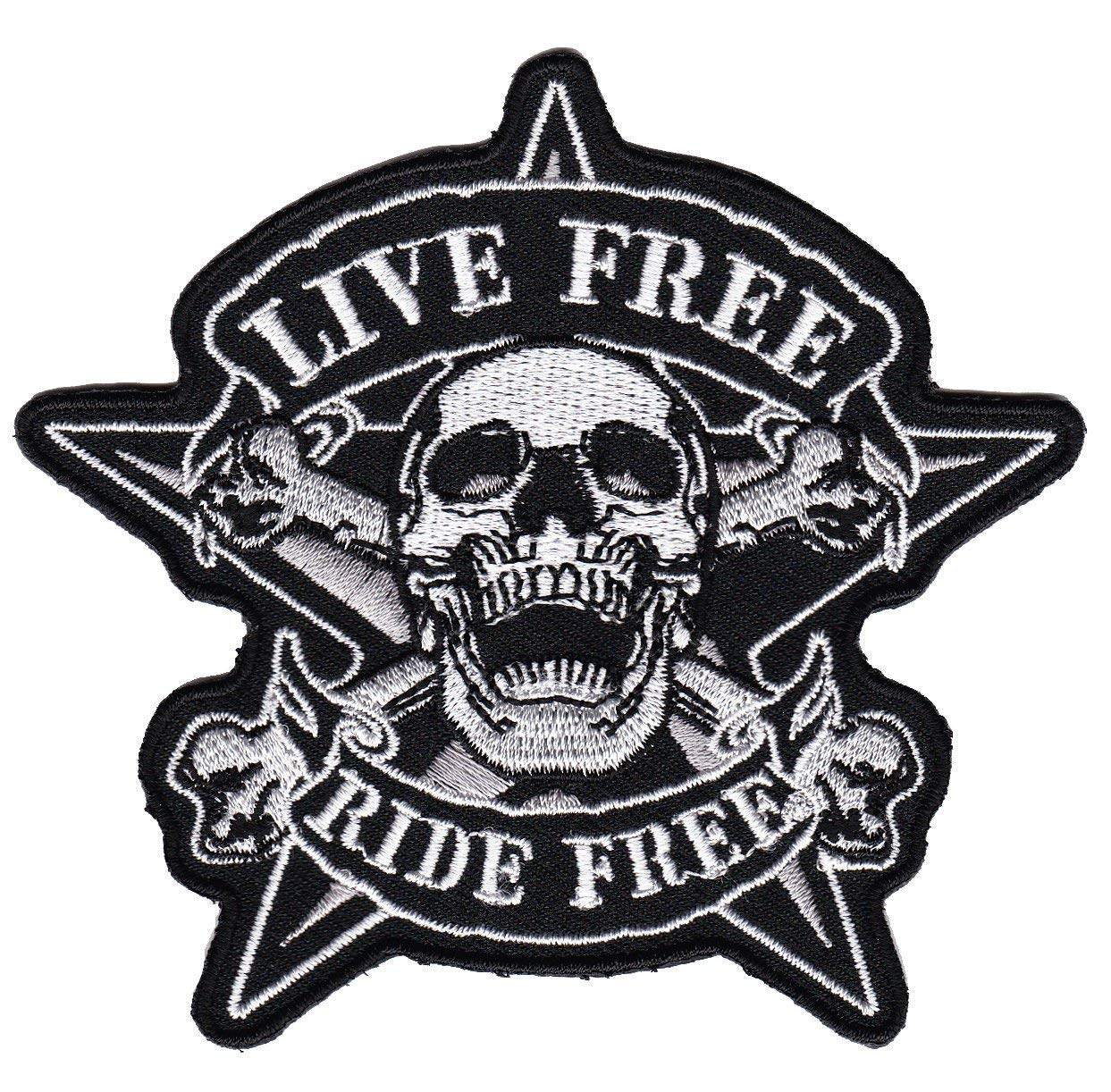 Live Free Ride Free Pirate Skullhead Calavera Biker Moto –  Parche Patchking