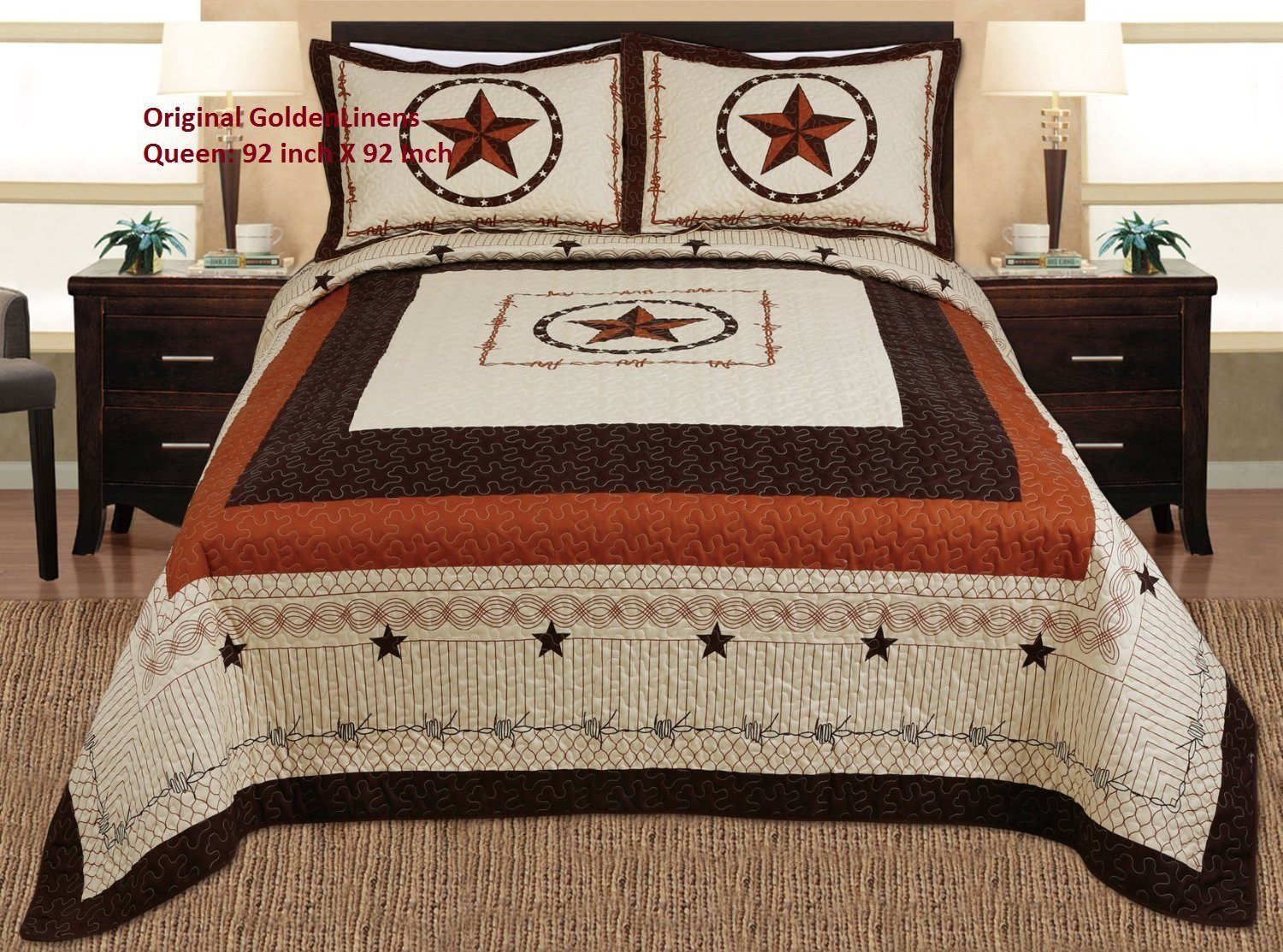 3-piece Western Lone Star Barb Wire Cabin / Lodge Quilt Bedspread Coverlet Set Full / Queen Size Beige, Brown, Black