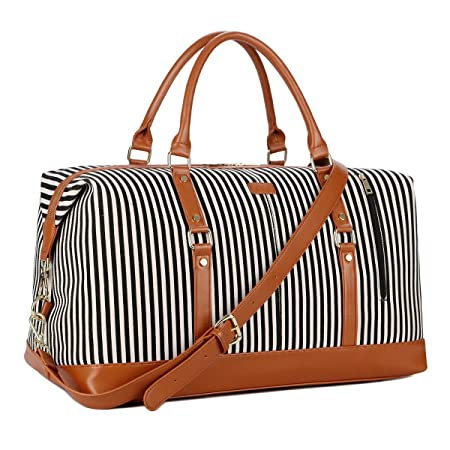 BAOSHA HB-14 Oversized Canvas Travel Tote Duffel Bag Carry on Weekender  Overnight Bag for Women and Ladies (Black Strip)  Amazon.co.uk  Luggage 750dcbaf9
