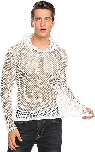 COOFANDY - Camiseta de entrenamiento para hombre, diseño de red de malla transparente - Blanco - Medium: Amazon.es: Ropa y accesorios