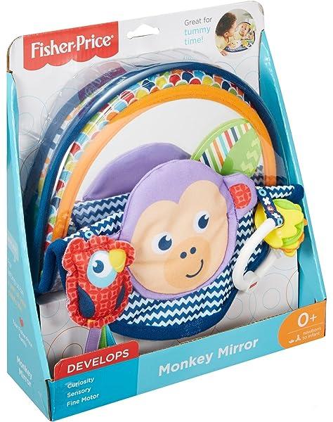 zusammenfaltbar Fisher-Price DYC85 /Äffchen Spiegel Baby Spielzeug ab Geburt Babyspielzeug und Motorikspielzeug f/ür die Bauchlage