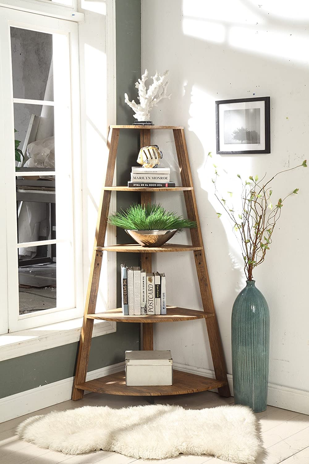 Vintage Brown Finish Wood Wall Corner 5-Tier Bookshelf Bookcase Accent Etagere eHomeProducts 1157