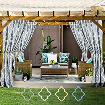 Quatrefoil Printed Curtain Panels For Gazebo Porch Moroccan Tile Canvas Lattice Waterproof Outdoor Curtains Pergola