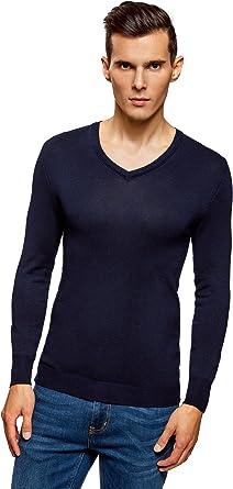 oodji Ultra Hombre Suéter Básico de Viscosa con Cuello Pico: Amazon.es: Ropa y accesorios