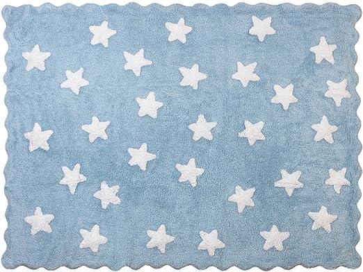 Lilipouce Alfombra Infantil algodón Estrellas Eden, Tela, Azul Celeste, 120x160 cm: Amazon.es: Hogar