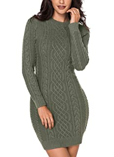 26d2816152b LOSRLY Women Crew Neck Long Sleeve Cable Knit Bodycon Sweater Midi Dress