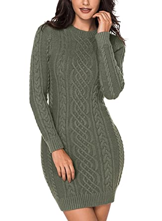 41f6f53266e Women Long Sleeve Crew Neck Cable Knit Slim Fit Bodycon Sweater Dress  Casual Pullover Pencil Dress