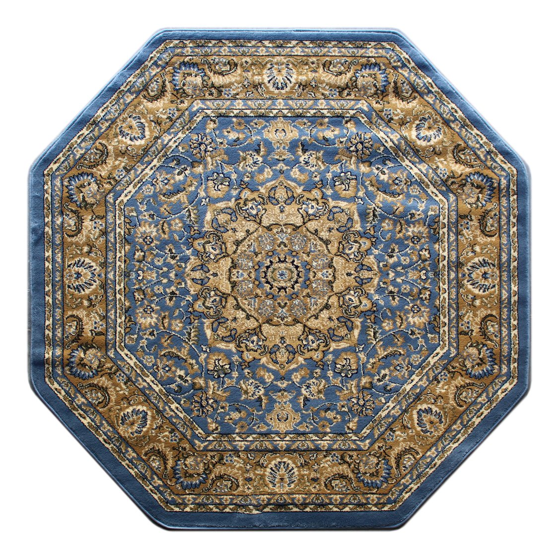Traditional Octagon Area Rug Design Bellagio 401 Blue (7 Feet 3 Inch X 7 Feet 3 Inch) Octagon